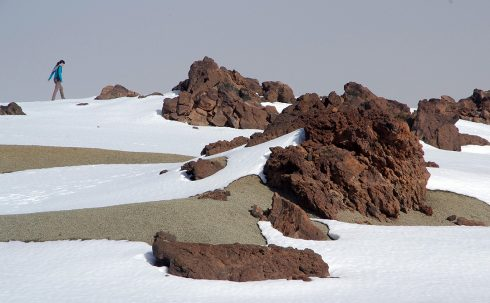 Volcan El Teide - Volcan enneigé Tenerife - Roche volcanique et neige - Iles Canaries - Tenerife Iles Canaries